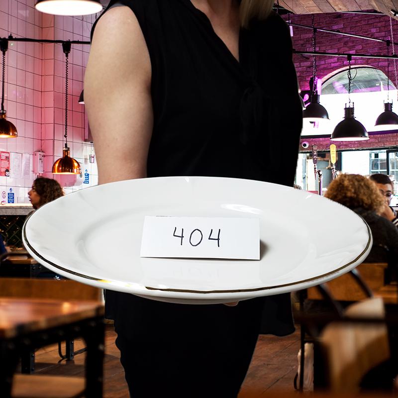 Plate serving a 404 error.