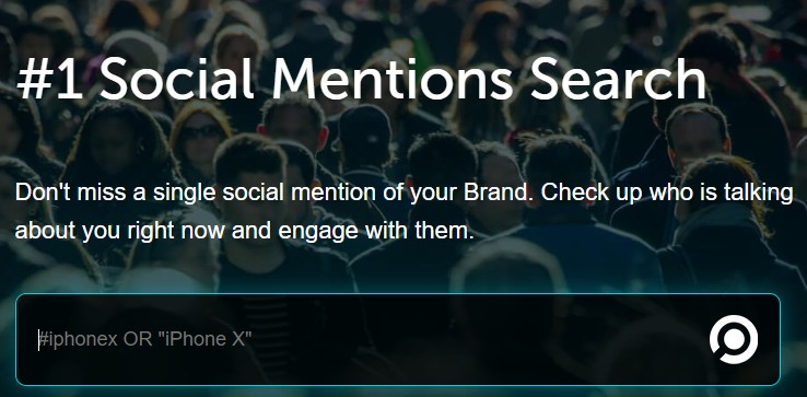 The home page of the Social Mentions search tool.