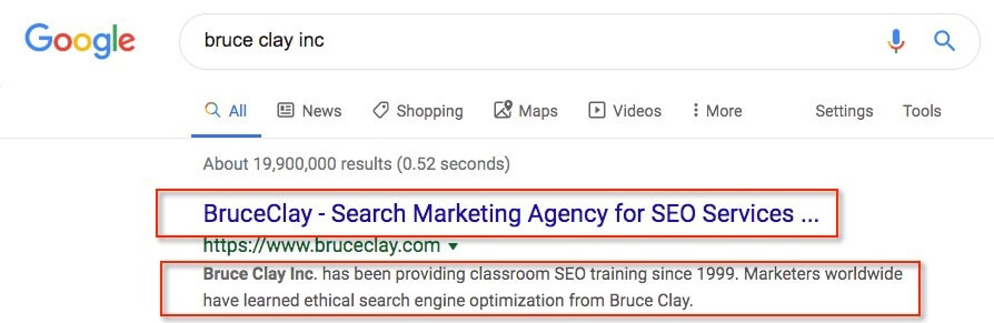 Screenshot of the search results for www.bruceclay.com.