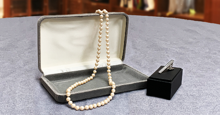 Classic string of pearls and tie clip.