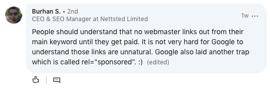 LinkedIn comment about SEJ article.
