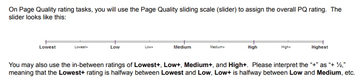 Google's page quality rating scale (excerpt from Search Quality Evaluator's Guide).
