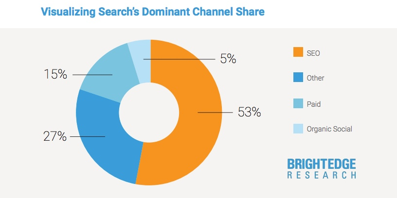 Pie chart showing search's dominant channel share.