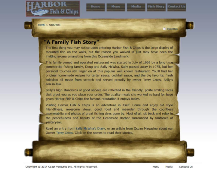 A Family Fish Story webpage example of E-A-T.