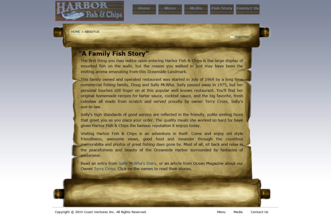 A Family Fish Story webpage example.