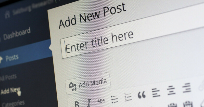 Writing new post form in WordPress.