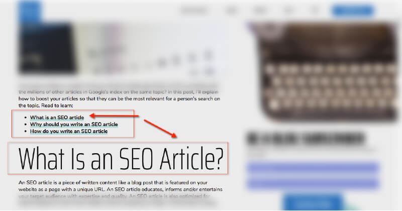 Optimize a page using anchor links.