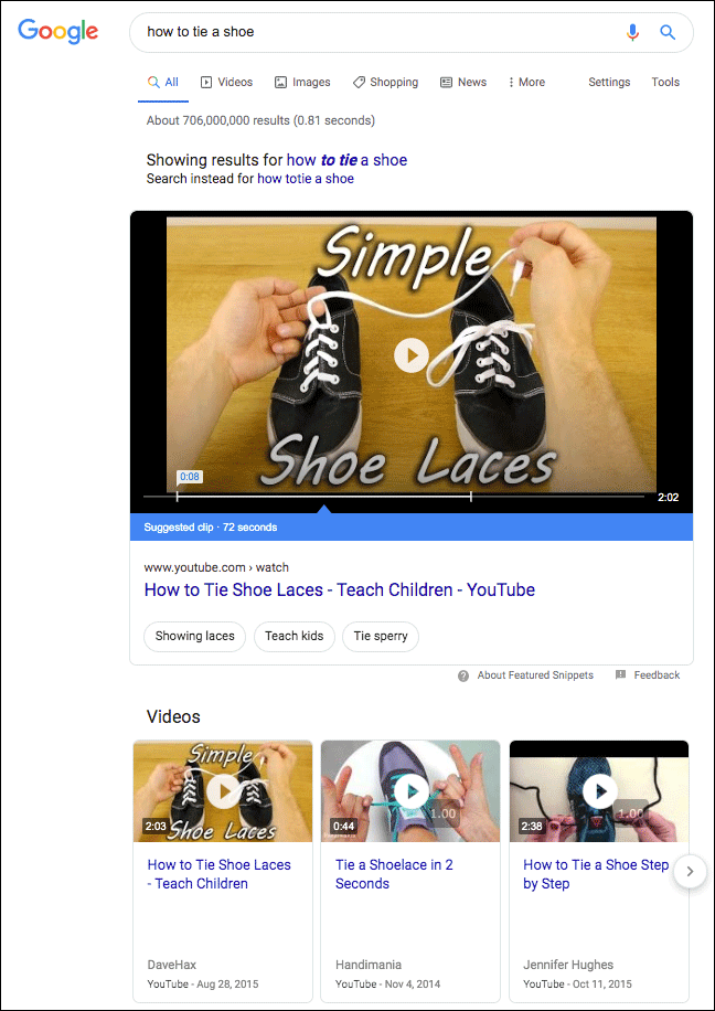 Video featured snippet example in Google search results.