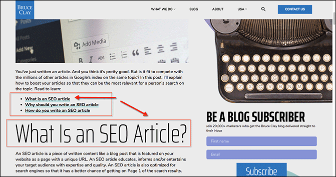 Example of article with anchor links.