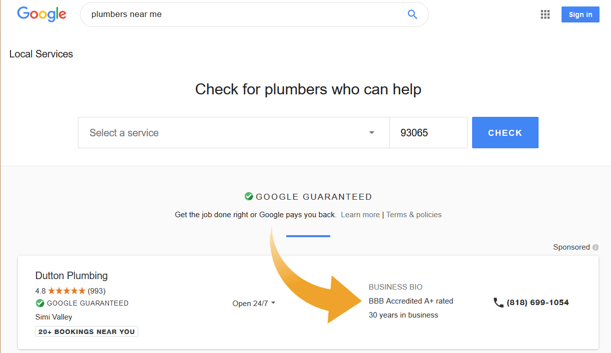 Google local services displaying BBB ratings.