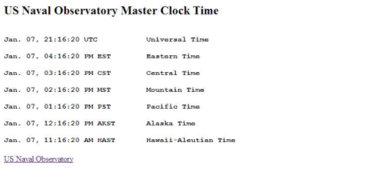US Naval Observatory clock times example webpage.