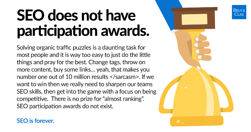 SEO does not have participation awards - quote graphic.