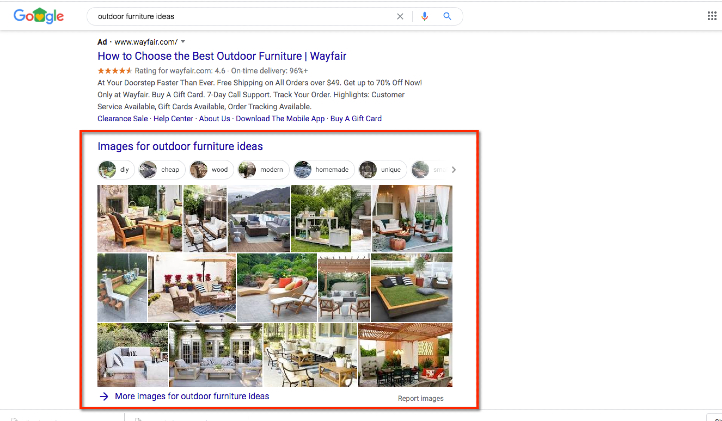 Google Web search with image results.