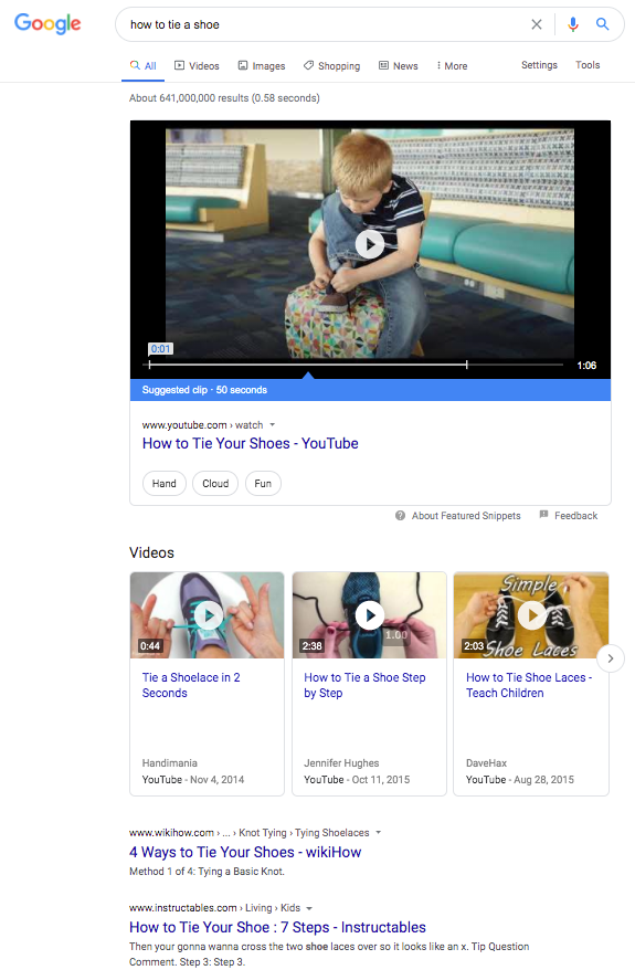 Google results with videos from YouTube.