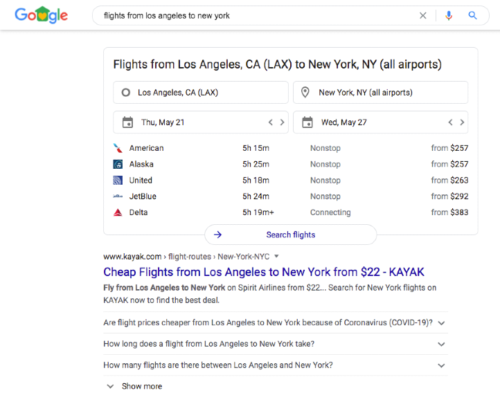 Google SERP with flight comparison functions.