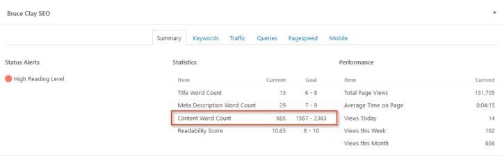 Custom word count target in plugin summary tab.