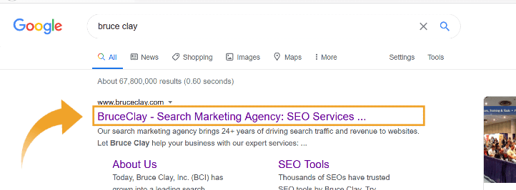 Title tag showing in Google search result.