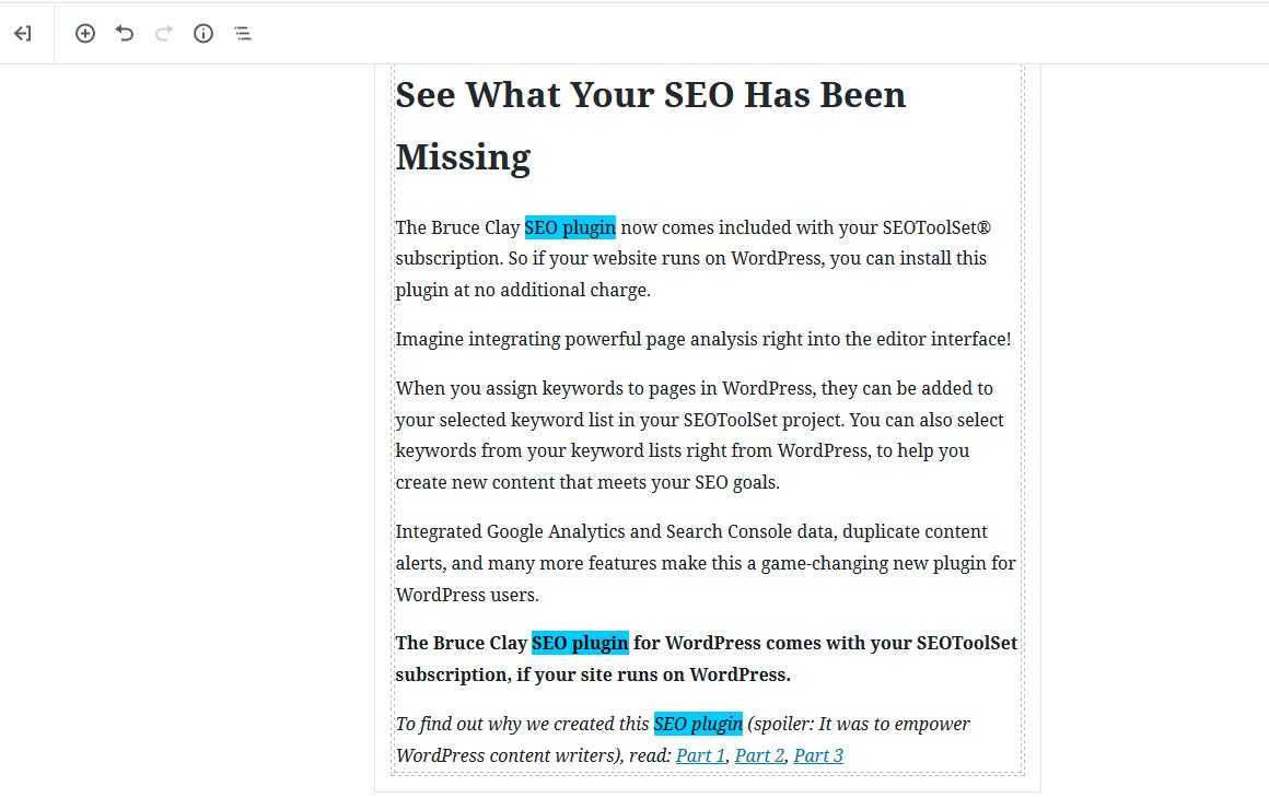Keyword distribution visible in SEO plugin.