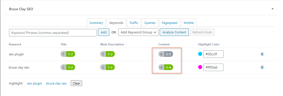 Keyword goals in content shown in SEO plugin.