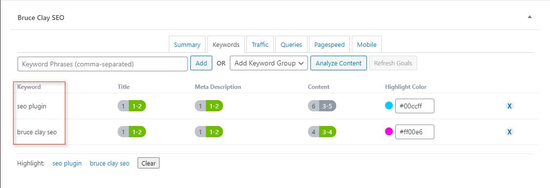 keywords-tab in SEO plugin.