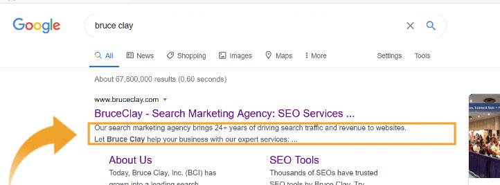 Description showing in Google SERP.