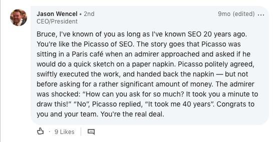 Screenshot of LinkedIn comment.