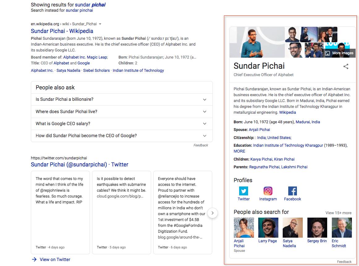 Google knowledge panel for Sundar Pichai search.