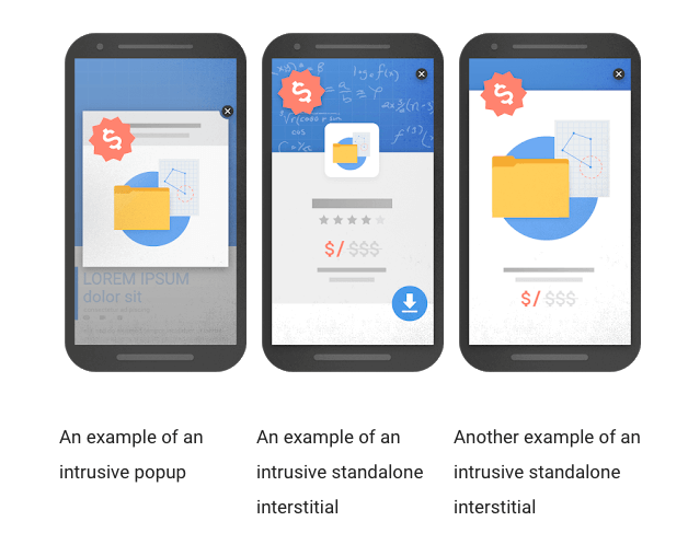Intrusive interstitials - examples from Google.