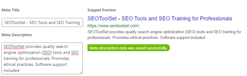Yoast SEO title and description fields.