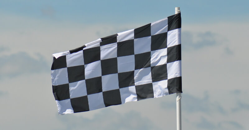 Checkered flag for user conversion on a website.