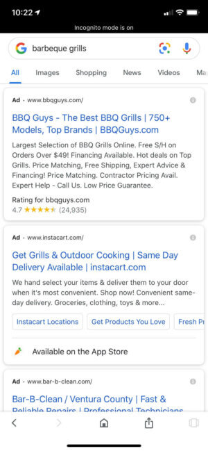 Google PPC ads - example in mobile search results.
