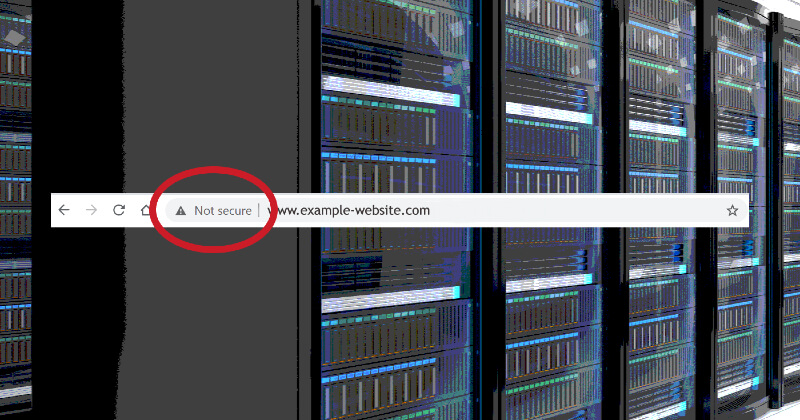 Not secure website warning from servers.