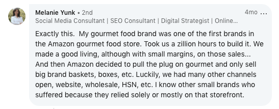 Comment about Amazon killing a gourmet food business.