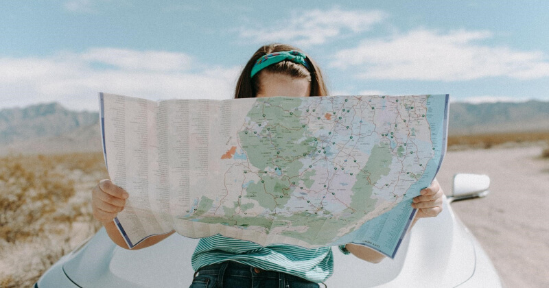 Looking at a map.