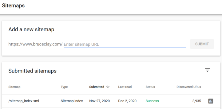 Sitemaps report in Google Search Console.