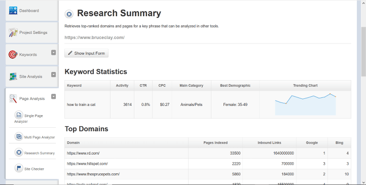 Research Summary report in the SEOToolSet.