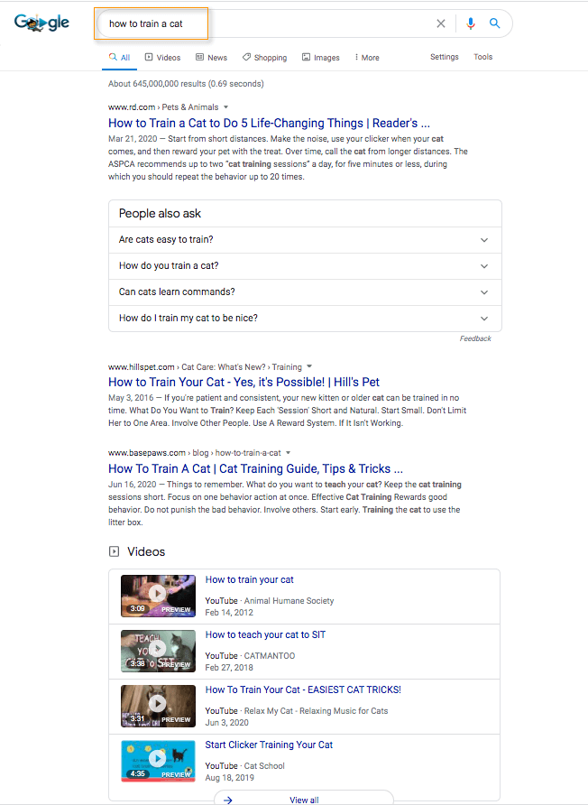 Example Google search results page.