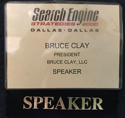 SES conference speaker badge from 2000.