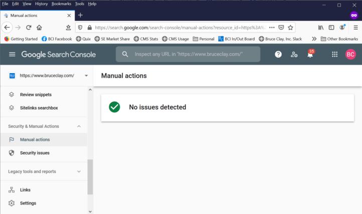 Informe de acciones manuales en Google Search Console.