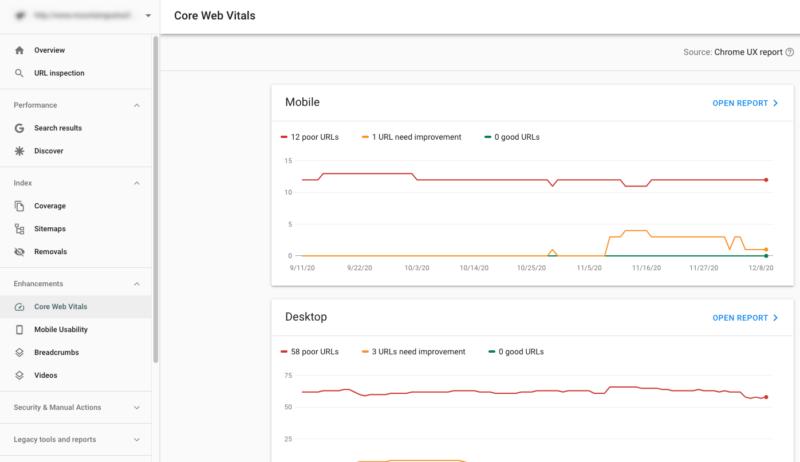 Core Web Vitals report.