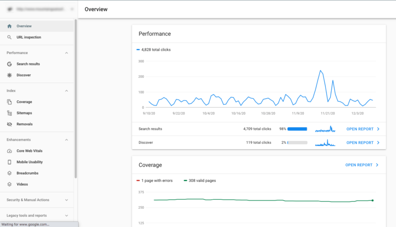 Google Search Console tools.