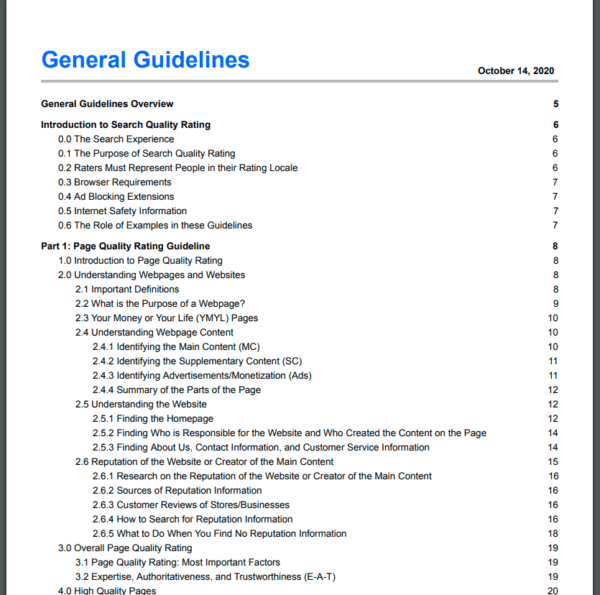 Search Quality Evaluator Guidelines TOC.