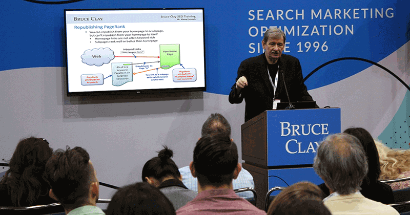 Bruce Clay delivers SEO training in front of an engaged audience.