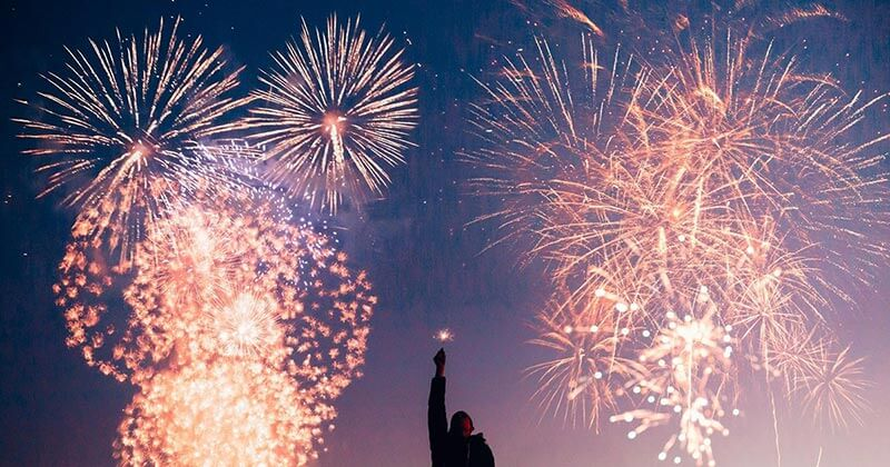 Man enjoying a fireworks show