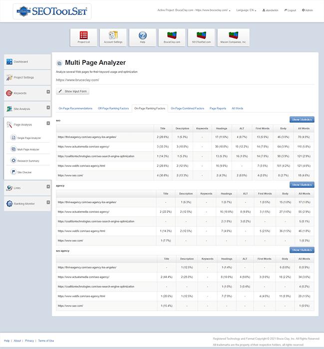 Faktor peringkat di halaman di alat SEOToolSet MultiPage Analyzer.