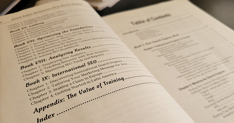 Table of contents distinguishes sections much like H1 tags.