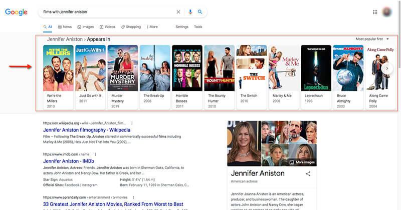 A Google SERP displaying carousel of Jennifer Aniston films.