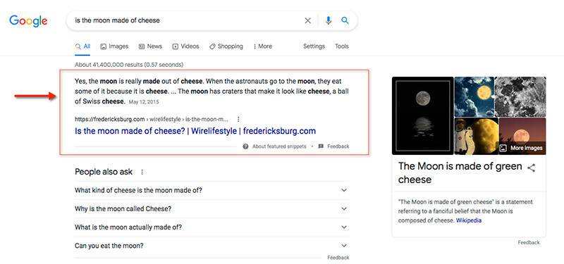A Google SERP displaying featured snippet of information pulled from a third-party website.