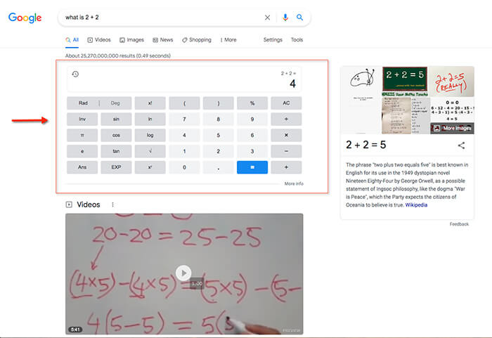 """Google SERP shows a knowledge card for the query """"what is 2+2."""""""