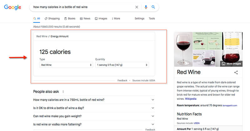 """A Google knowledge card example of the query """"how many calories in a bottle of red wine."""""""